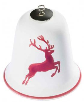 Gmundner Keramik Bordeauxroter Hirsch Weihnachtsglocke 7 cm inkl. Satinband