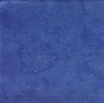 Paperproducts Design Servietten geprägt 33x33 cm 15 Stk. Lace Embossed Mittelblau