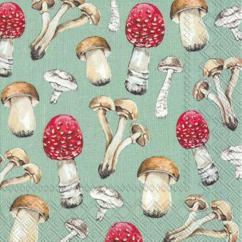 IHR Lunch-Servietten 33x33 cm Country Mushrooms Green
