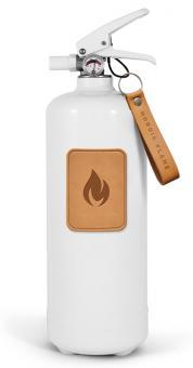 Nordic Flame Feuerlöscher Weiß mit Lederdetails, ABC-Pulver 2 kg