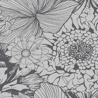 Garnier-Thiebaut Tischdecke Mille Bloom Noir Halbleinen Vorgewaschen 45x45 cm