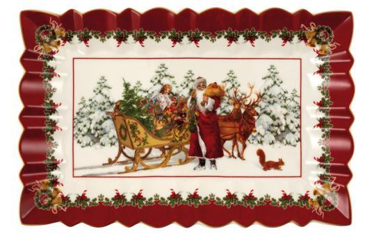 Villeroy & Boch Toy´s Fantasy Kuchenplatte Eckig Santa mit Schlitten 35x23x3,5 cm