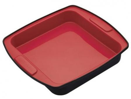 KitchenCraft Backform 23 cm Flexibel rot/Schwarz Silikon