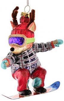 Gift Company Hänger Rentier mit Snowboard mehrfarbig