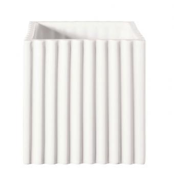 ASA Selection Quadro Übertopf mit Rillen Weiß 12x12 cm H 12 cm