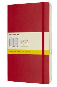 Moleskine Notizbuch L/A5 Kariert Soft Cover Scharlachrot