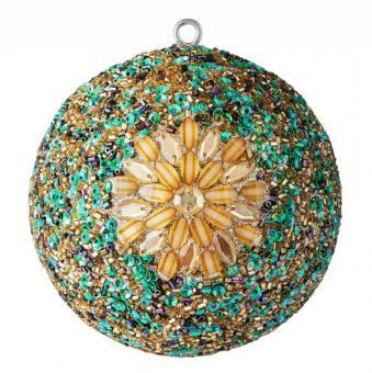 Gift Company Weihnachtskugel Opium 10 cm Blumenmuster goldene Steine Perlen Pailletten mehrfarbig
