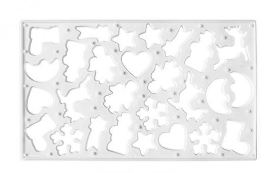 Städter Keksausstecherbrett 37x22 cm weiß mit 9 Motiven Kunststoff-PP