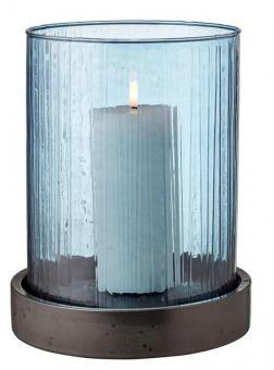 Bitz Windlicht Hurricane 24 cm mit LED-Kerze Blau