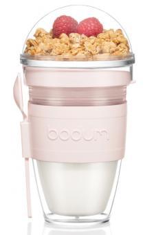 Bodum Joghurtbecher, 0,3 L mit Löffel Kunststoff doppelwandig Joycup strawberry