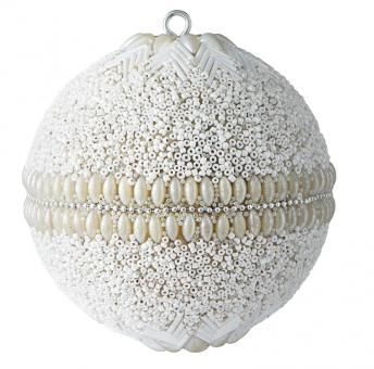 Gift Company Weihnachtskugel Opium 10 cm Blumenmuster Perlen Steine weiß