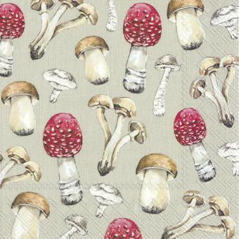 IHR Lunch-Servietten 33x33 cm Country Mushrooms Linen