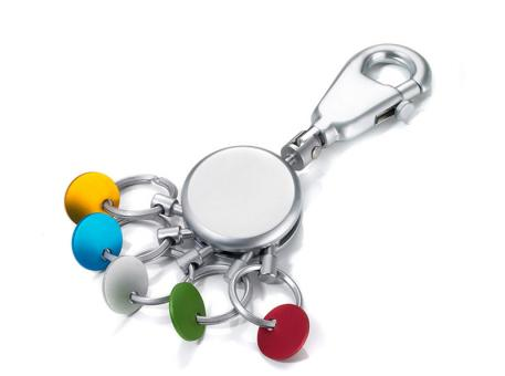 Troika Schlüsselanhänger rund inkl. Karabinerhaken matt mehrfarbig