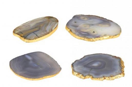 Gift Company 4er Set Achatuntersetzer Stone grau