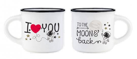 Legami 2-er Set Espresso-Mini-Mug For Two To The Moon&Back