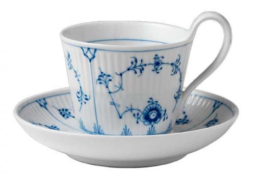 Royal Copenhagen Musselmalet gerippt Tasse Tee Hoher Henkel 24 cl