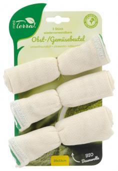 Mea Terra 3er Set Obst- u. Gemüsebeutel 28x33cm 100% BIO-Baumwolle