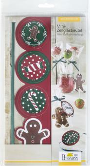 Birkmann Mini-Zellglasbeutel mit Schleife & Grußetiketten Candy Christmas