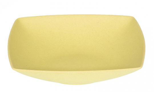Magu Natur-Design Teller tief 18 cm eckig gelb