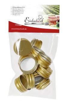 Einkochwelt 10er Beutel 31,5 mm PP-Verschraubungen gold