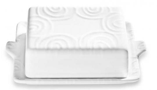 Gmundner Keramik Weißgeflammt Butterdose 250g