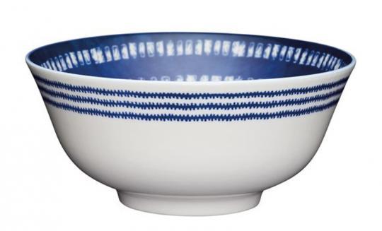 KitchenCraft Bowl 15,5 cm mit blauem Fliesenmuster
