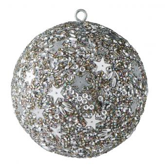 Gift Company Weihnachtskugel Opium 10 cm Sterne Perlen Pailletten silber