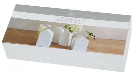 Räder Zuhause Gartenhäuschen 4er Set H 5,5-8,5 cm aus Porzellan
