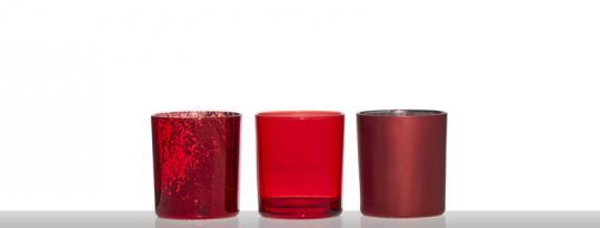 Hakbijl 3er-Set Teelicht light red Sortiert
