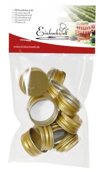 Einkochwelt 10er Beutel 28 mm PP-Verschraubungen gold