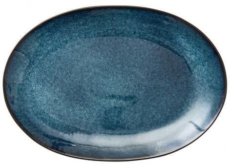 Bitz Platte oval 36x25 cm schwarz/dunkelblau