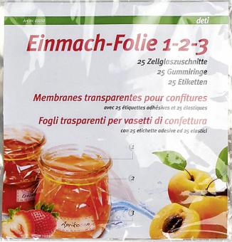 EK deti Einmach-Foli 1-2-3 mit Gummi und Etiketten