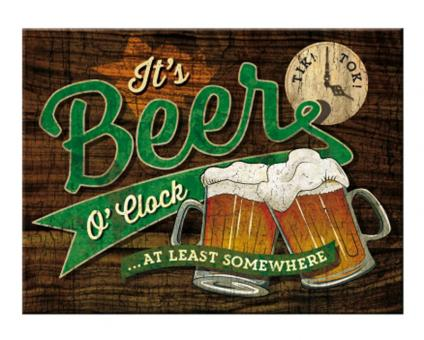 Nostalgic Art Magnet 8x6 cm Beer O'Clock Glasses