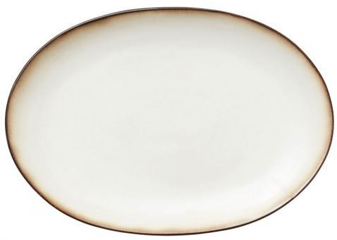 Bitz Platte oval 36x25 cm grau/creme