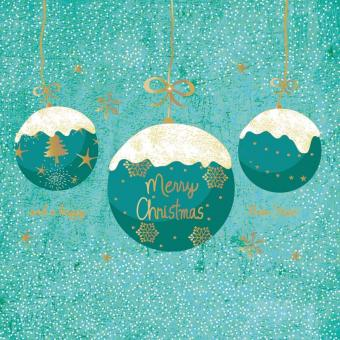 Paperproducts Design Servietten 33x33 cm A Very Merry Christmas turquoise