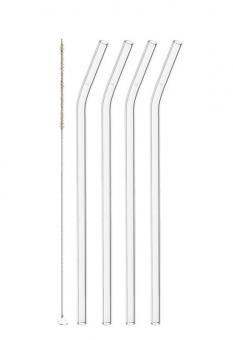 Leonardo Glastrinkhalme 4er-Set 23 cm + Reinigungsbürste Ciao