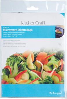 KitchenCraft Dampfgarbeutel für Mikrowelle Packung mit 30 Stk. 19,5x26 cm