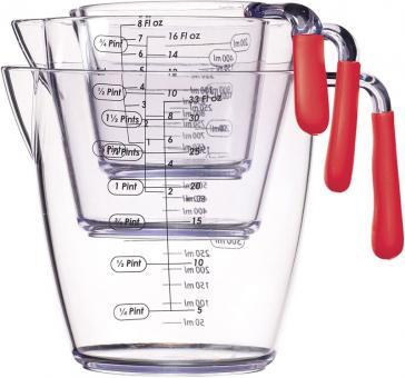 KitchenCraft Messkrug-Set 3-tlg. 200 ml/400 ml/900 ml Rot