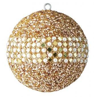 Gift Company Weihnachtskugel Opium 10 cm kleine Spiegelrauten Perlen Pailletten gold/weiß