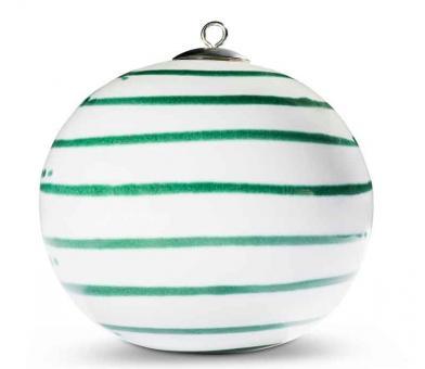 Gmundner Keramik Grüngeflammt Weihnachtskugel 9 cm inkl. Satinband