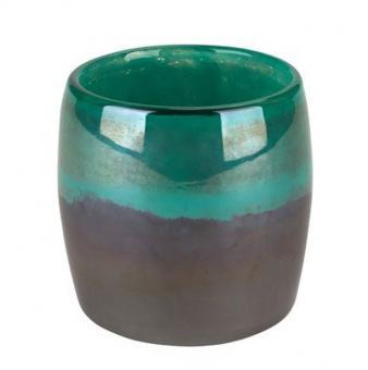 Gift Company Windlicht S Linen Perlmutt grau/grün