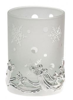 Hermann Bauer jun. Teelichthalter Engel weißes Glas, H9,5 cm, Ø 7,5 cm versilbert