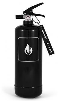 Nordic Flame Feuerlöscher Classic Schwarz/Silber, ABC-Pulver 2 kg