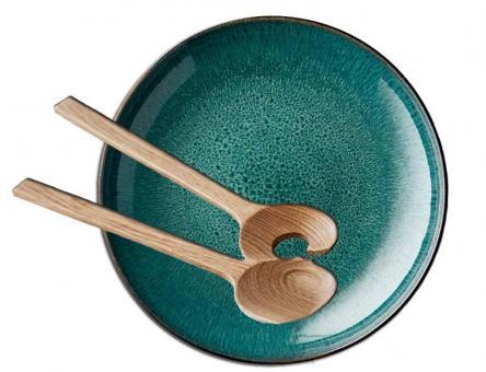 Bitz Set Servierschale rund 40 cm schwarz/grün + Salatbesteck 32 cm Eiche