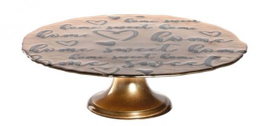 Leonardo Tortenplatte 31 cm auf Fuß Gold Decora