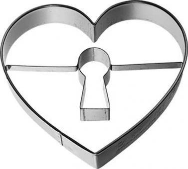 Birkmann Ausstechform Herz mit Schlüsselloch Edelstahl mit Innenprägung 7 cm