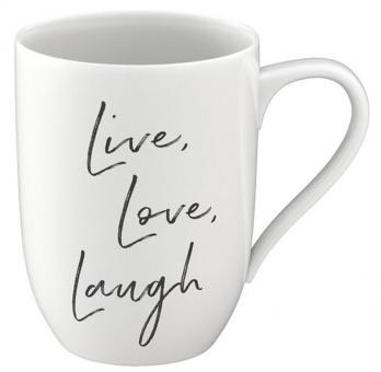 Villeroy & Boch Statement Becher mit Henkel Live Love Laugh