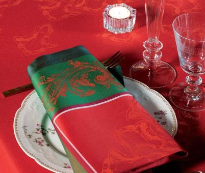 Garnier-Thiebaut Serviette Noel Baroque Rouge55x55 cm