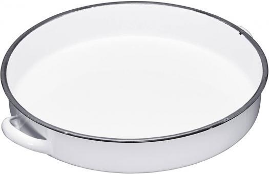 KitchenCraft Emaille-Tablett rund 30 cm weiß/grau