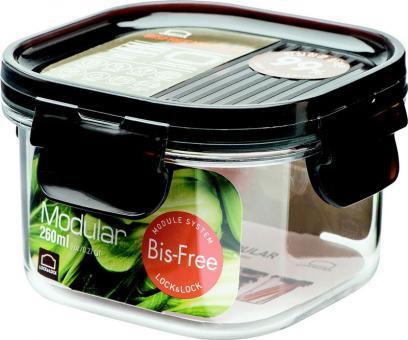 Lock & Lock Frischhaltebox quadratisch 260 ml BisFree Modular 100x100x64 mm